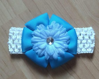 Baby Girl Headband, Flower Headband, Blue Headband, Summer Headband, Baby Hair Accessory, Baby Headband, Flower Hairbow, Girls Hairbow