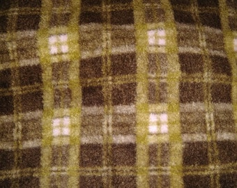 Brown and Pink Checked Fleece Fabric