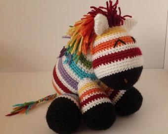Rainbow Zebra Plush