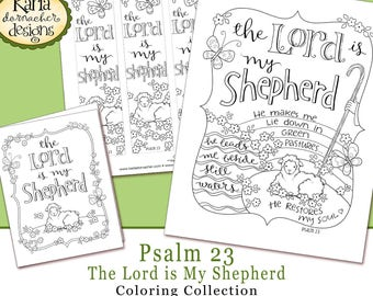Easter, Psalm 23, The Lord is My Shepherd, Bible Journaling Traceable Coloring Collection Christian Scripture Bible Verse