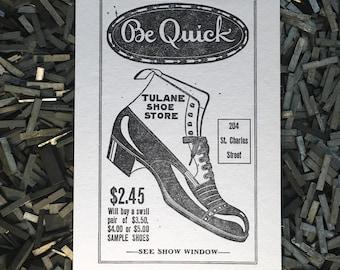 Shoe Letterpress Postcard