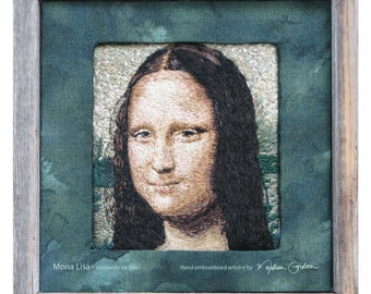 Mona Lisa, Leonardo da Vinci, print, of hand embroidered original, on canvas or brushed aluminum, 11x11