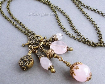 Rose Quartz Long Necklace 28 inches, Antiqued Brass Chain, Pink Gemstone Cluster Drops, Handmade Jewelry