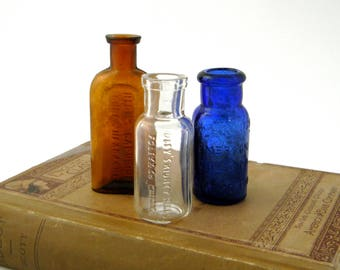 Curious Little Collection of Victorian Era Remedy Bottles. Authentic Antique Medicine Bottles, Not Reproductions. Sold Together as a Set.
