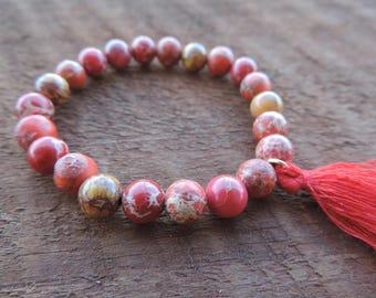 Red Jasper Bracelet, Chakra Bracelet, Healing Meditation Bracelet, Yoga Bracelet, Gemstone Bracelet, Jasper Bracelet, Mala Bracelet