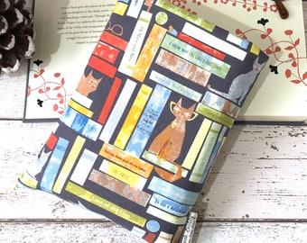 Cat Tails Book Sleeve, 4 Sizes, Made to Order Book Buddy, Cats Book Gift, Bookish Accessories, Padded Book Cover, Bookshelf Book Pouch