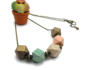 Geometric pastel wood beads necklace