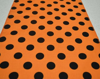"10"" x 72"" Orange and Black Polka Dots Table Runner"