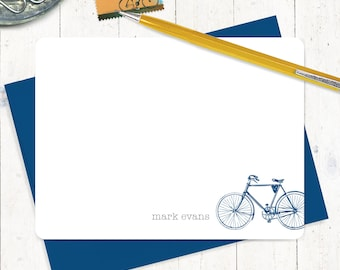 personalized note card set - VINTAGE BOYS BICYCLE - set of 12 flat cards - personalized stationary - men's bike - boys bike - gift for him
