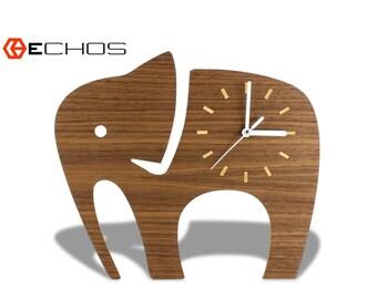 Wood Animal Elephant Kids Wall Clock