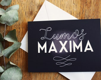 "Card A6, ""Lumos maxima"" Harry Potter quote, typography, JK Rowling"