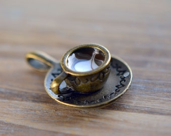 Mini Cappuccino Latte Charm Pendant with Cream Swirl French Charm (A027)