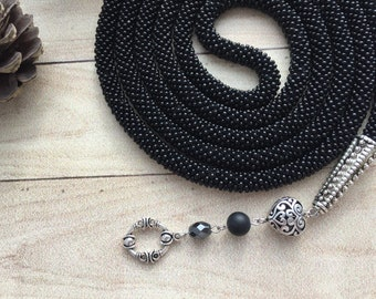 Black Crocheted Bead Rope Necklace, Long Czech Seed Bead Knitted Transformer Lariat