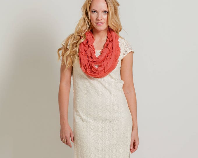 Coral Infinity Ruffle Scarf