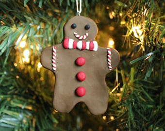 Gingerbread Man with Bow Tie Ornament - Polymer Clay Christmas Ornament -Sculpey Gingerbread Ornament -Polymer Clay Gingerbread Man Ornament