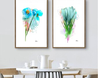 Blue Flower Wall Decor Abstract Flower Print Set 2 Room Decor Blue Flower Blue Wall Art Living Room Decor Abstract Flower Gift