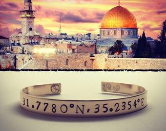 Temple Mount Coordinate Bracelet.