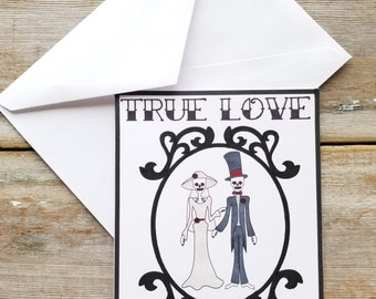 Gothic Cards - Skeleton Wedding Card - Gothic Wedding - Skeleton Card - Gothic Greeting Card - Halloween Wedding - Tattoo Card