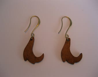 "Carved wood, ""art nouveau""-inspired earrings."