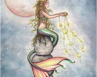 Mermaid Fantasy Art Print by Molly Harrison 'Starfilled Sky'