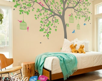 Tree removable vinyl decal Tree wall decal Wall Art Wall Mural Stickers Wall Decals Decor  -NT012