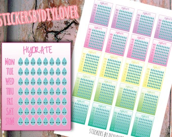Kawaii HYDRATE PRINTABLE STICKERS for Erin Condren Life Planner- By DIYlover