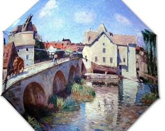 Foldable umbrella - Painter SISLEY - Moret bridge