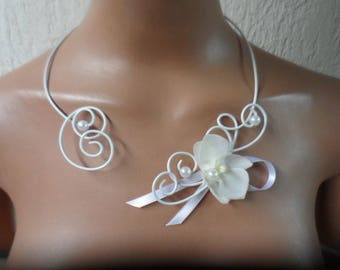 White flowers for bride - necklace with artificial Orchid