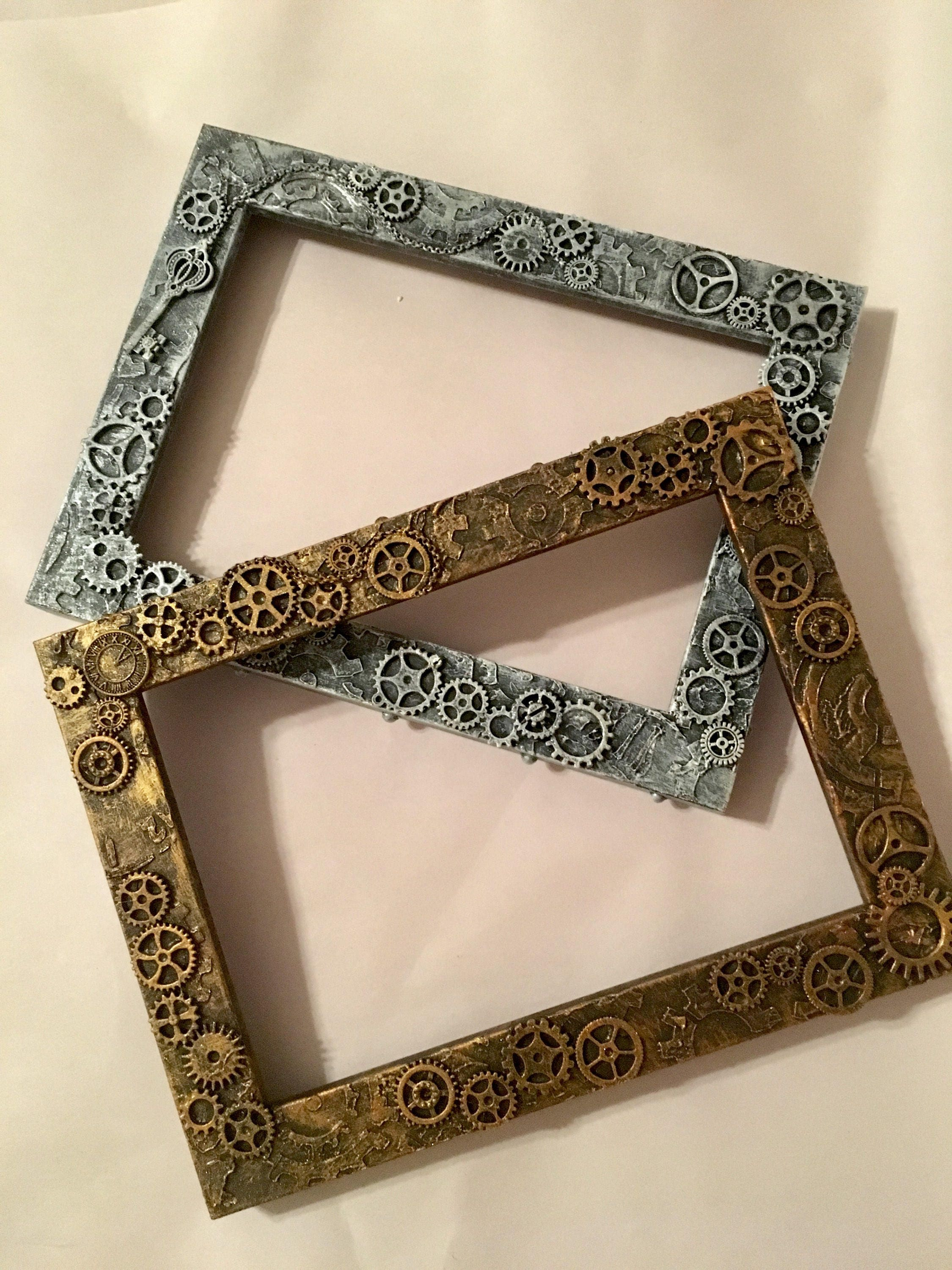 Steampunk picture frame, INDUSTRIAL Steampunk photo frame, 4x6 frame ...