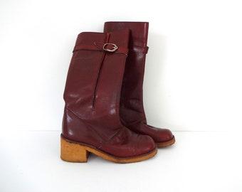 Vintage ETIENNE AIGNER Boots •1970s Footwear • Oxblood Leather Tall Riding Gum Rubber Rainboot Platform Block Heels Logo •Women Size 7