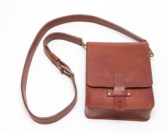 Crossbody Bag Cognac,Leather Bag, Mens Leather Bag, Leather Messenger, Leather Shoulder Bag, Leather Messenger