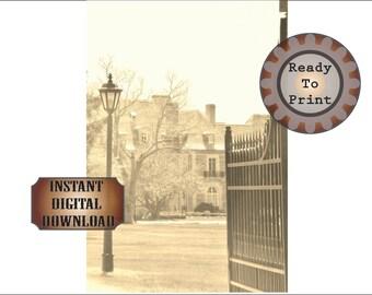 "Photo Booth Backdrop Printable ~ Estate Gate Entrance 36X48"" Sepia Photo ~ 1920s Mansion Selfie Station Background ~ Prohibition Party Decor"