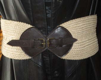 Woman's Vintage Extreme Wide Cinch Belt , Brown Leather with Beige Weaved Nylon , 5 inch wide belt, Size Large