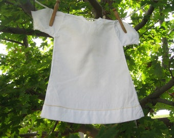 Vintage White Baby or Doll Dress – Yellow Needlework
