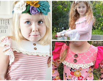 Buy 2 get 1 Free New! Camille Knit Top for Girls with Ruffled Yoke & Flutter or Long Sleeves PDF Sewing Pattern