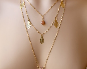 Dainty Three Strand Peach Sunstone Dangling Filigree Leaf Gold Toned Necklace