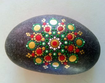 Red, green and gold jewel drop mandala