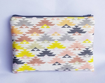 Aztec Quilted Zipper Pouch