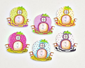6 Wooden Strawberry House Buttons - Strawberries - House Buttons - Fairy Houses - Sewing Buttons - Cardmaking - Scrapbooking - #WSB0030