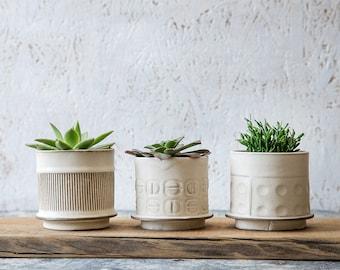 White Ceramic planter, Small Ceramic Planter, Succulent planter, cactus Planter, Modern planter, Indoor Planter, Gardening Gift, SET OF 3