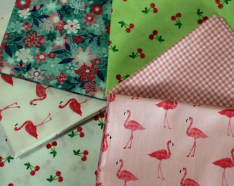 Flamingo cotton fabric fat quarter set. Fruity friends fabric collection from Makower fat quarters. Childs patchwork material bundle pack.