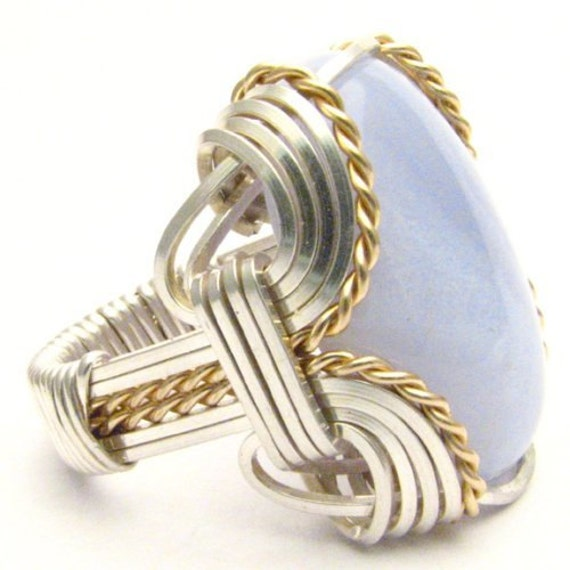 Handmade Wire Wrap Two Tone Sterling Silver/14kt Gold Filled Blue Lace Agate Cabochon Ring