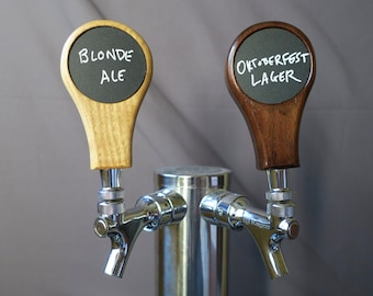 Tap handle, hardwood with removable chalkboard insert , 4 inches tall