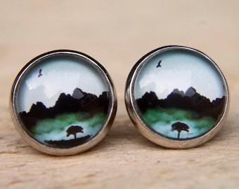 Green Earrings. Tree Earrings. Misty Trees. Misty Mountains.  Glass Dome Earrings.. Stud Earrings. Small Studs, Post Earrings, Tree Studs