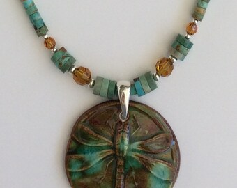 Turquoise and Crystal Dragonfly Necklace