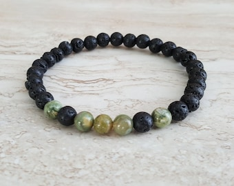 Natural Lava Stones & Unakite healing bracelet 6 mm stretchy stacking beaded bracelet,Chakra healing bracelet,Intention bracelet