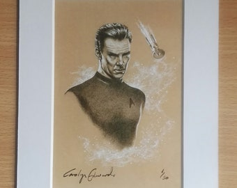 "STAR TREK  ~ ""Khan!"". Limited Edition, signed and numbered 4 x 6 inch mounted print."