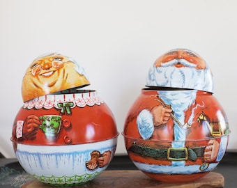 CHRISTMAS decorations 80s Vintage Christmas decor COLLECTIBLE Tin CONTAINERS Gift boxes