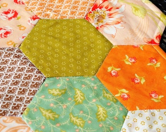 Quilted Table Runner Table Topper Candle Mat Honeycomb Peach Green