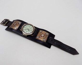 Steampunk watch. Men watch. Quartz watch.Leather cuff watch
